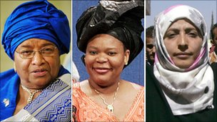 Liberian President Ellen Johnson Sirleaf, Liberian activist Leymah Gbowee and Yemeni activist Tawakkul Karman