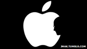Apple icon with Job's face in profile.