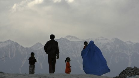 Afghans walk down a hill in Kabul, in April 2007