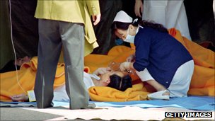 Communter treated for Sarin gas fumes in the Tokyo 1995