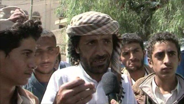 Supporters of Yemeni activist Tawakul Karman speak to the BBC in Sanaa