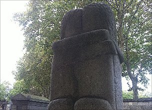 """The Kiss"" by Constantin Brancusi is a famous memorial in the cemetery"