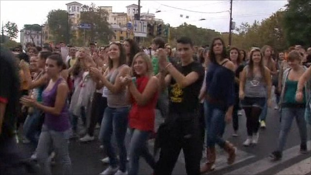 Students protesting in Italy
