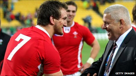 Sam Warburton and Warren Gatland celebrate