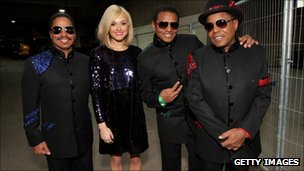 Fearne Cotton, who co-hosted the concert, backstage with Marlon, Jackie and Tito Jackson