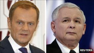 Poland's Prime Minister Donald Tusk (L), leader of Civic Platform (PO), and Jaroslaw Kaczynski, leader of Poland's main opposition Law and Justice party (PiS)
