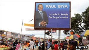 Paul Biya's campaign billboard in Makolo market, Yaounde, on 8 October 2011