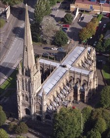 St Mary Redcliffe from above.