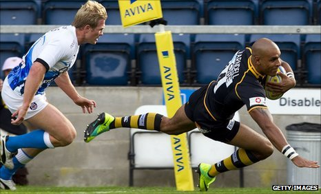 Tom Varndell crosses for Wasps