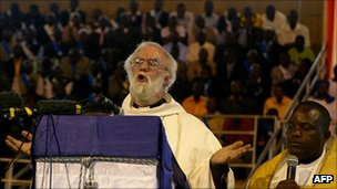 Archbishop of Canterbury Rowan Williams addressing thousands in Harare