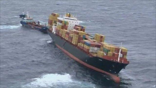 Leaking oil tanker off coast of New Zealand