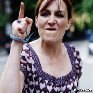 Woman shouting and gesticulating