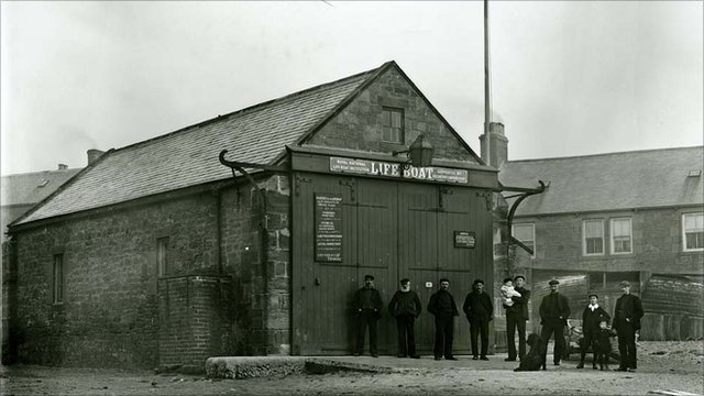 Lifeboat station in Newbiggin in the early 20th Century