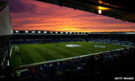 Elland Road stadium at sunset