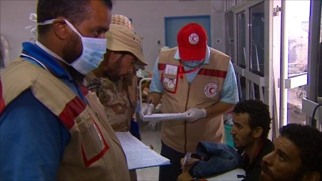 Red Cross and Red Crescent workers at Sirte hospital