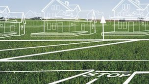 Graphic of houses made of white lines on green grassland (Image: Thinkstock)