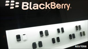 Blackberry phones on display