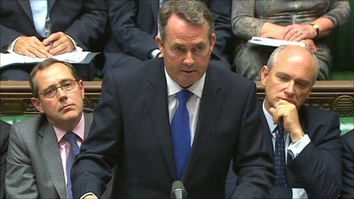 Defence Secretary Liam Fox making a statement in the Commons