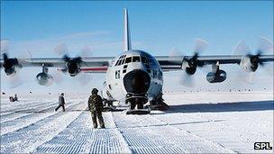 'Plane landing on Antarctica