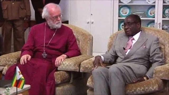 Archbishop of Canterbury Rowan Williams and President Robert Mugabe