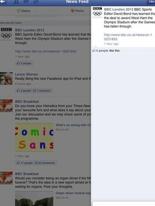 Facebook for iPad, screen grab