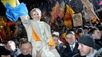 Yulia Tymoshenko during a rally on Independence square in Kiev