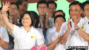 Tsai Ing-wen at rally in Taichung