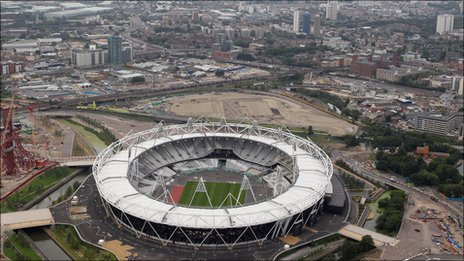 Aerial shot of Olympic Stadium