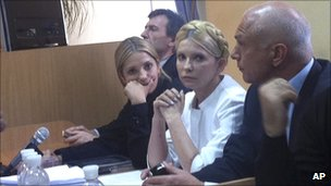 Yulia Tymoshenko with husband Oleksandr, right, and daughter Evhenya at her trial in Kiev in Sept 2011