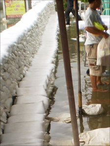 Wall of sand bags. Photo: Stuart Ward