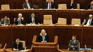 Slovakian Prime Minister Iveta Radicova addresses parliament