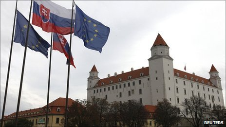 Slovak and European Union flags fly next to Bratislava Castle