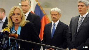 Slovakian Prime Minister Iveta Radicova gives press conference after vote