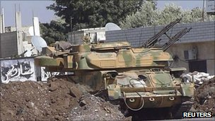 Syrian armoured vehicle at Hula town near Homs, 30 September 2011