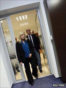 Slovakian Prime Minister Iveta Radicova (left) with Solidarity and Freedom Party chairman Richard Sulik, 10 October