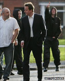 David Cameron on a tour of a Manchester estate in 2007