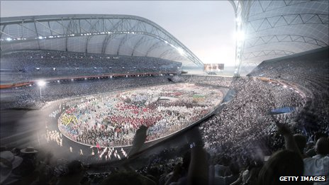 Artist's impression of the Sochi 2014 Olympic stadium