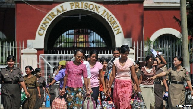 Freed female prisoners leave Insein central prison in Yangon
