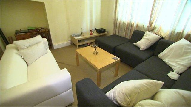 Sofas inside flat where Jo Yeates lived