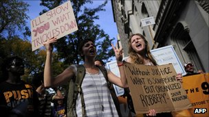 Occupy Wall Street protesters on millionaires march