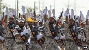 Iran's Revolutionary Guard Corps members. Photo: September 2011
