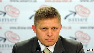 Slovak Social Democrat leader Robert Fico talks to journalists in Bratislava, 12 October