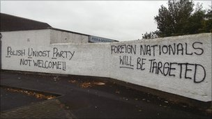 Racist graffiti has appeared in the estate