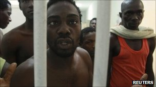 Suspected Gaddafi mercenaries in Tripoli jail. Photo: September 2011