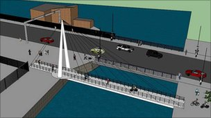 Lowestoft's cycle/pedestrian bridge - artist's impression
