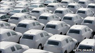 Volkswagen cars await shipping