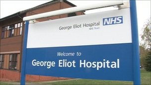 George Eliot Hospital sign