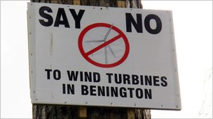 No to wind turbines notice on tree