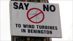 No to wind turbines notice on tree