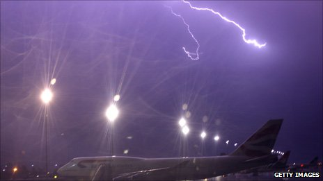 Aircraft at airport and lightning in background